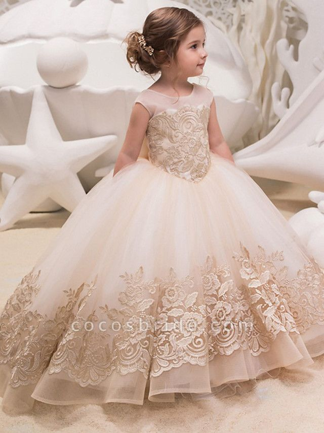 Princess / Ball Gown Sweep / Brush Train Wedding / Party Flower Girl Dresses - Lace / Tulle Cap Sleeve Jewel Neck With Bow(S) / Appliques