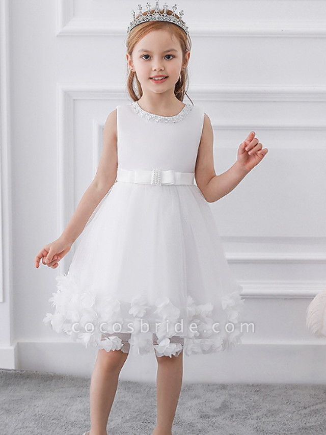 Princess / Ball Gown Knee Length Wedding / Party Flower Girl Dresses - Tulle / Satin Chiffon Sleeveless Jewel Neck With Bow(S) / Beading / Appliques