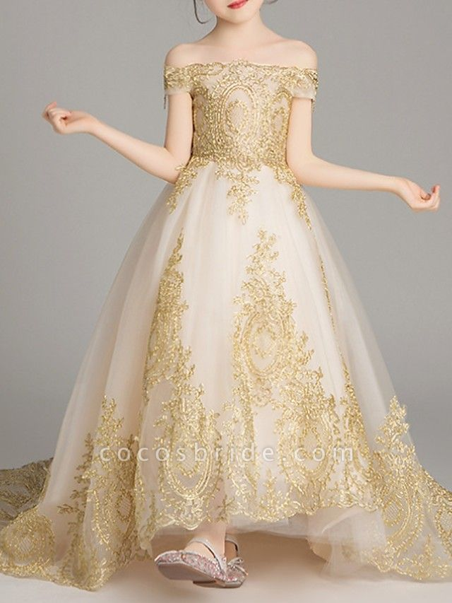 Ball Gown Sweep / Brush Train Pageant Flower Girl Dresses - Polyester Short Sleeve Off Shoulder With Pattern / Print