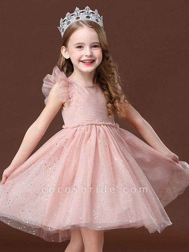 Princess / Ball Gown Short / Mini Wedding / Party Flower Girl Dresses - Tulle Short Sleeve Jewel Neck With Ruffles / Paillette