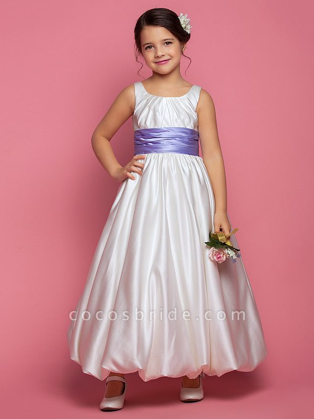 Princess / A-Line Ankle Length Satin Sleeveless Square Neck With Sash / Ribbon / Ruched / Side Draping