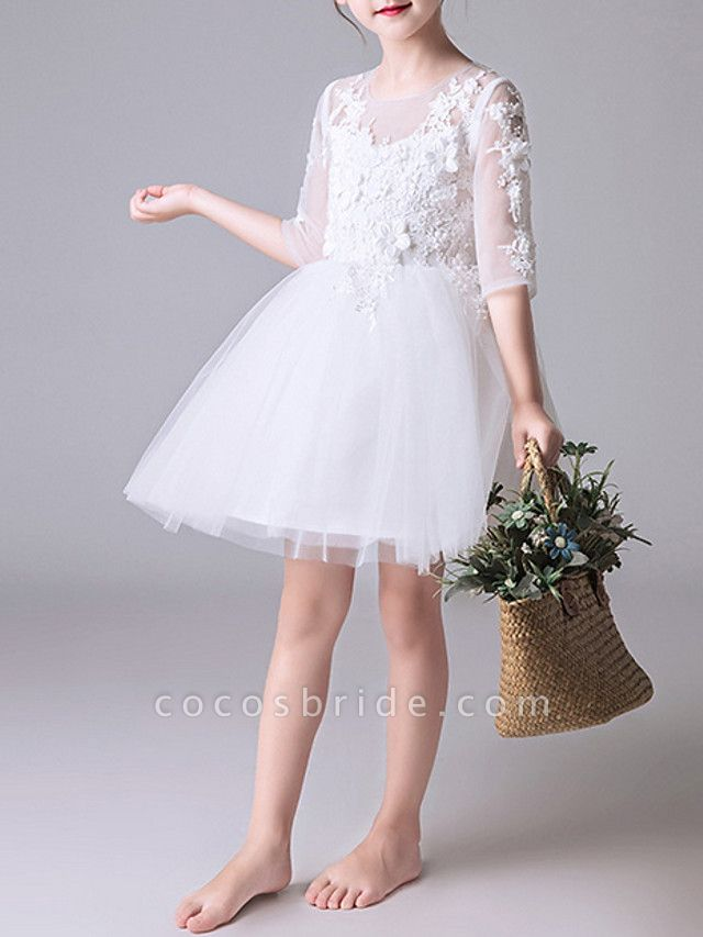 Princess Short / Mini First Communion Flower Girl Dresses - Polyester Half Sleeve Jewel Neck With Appliques