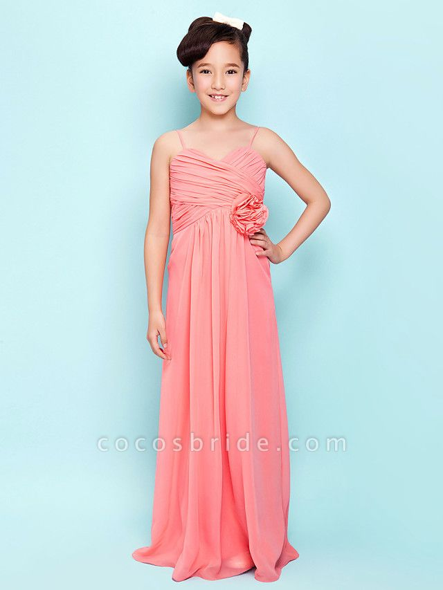Sheath / Column Sweetheart Neckline / Spaghetti Strap Floor Length Chiffon Junior Bridesmaid Dress With Flower / Empire / Spring / Summer / Fall / Hourglass