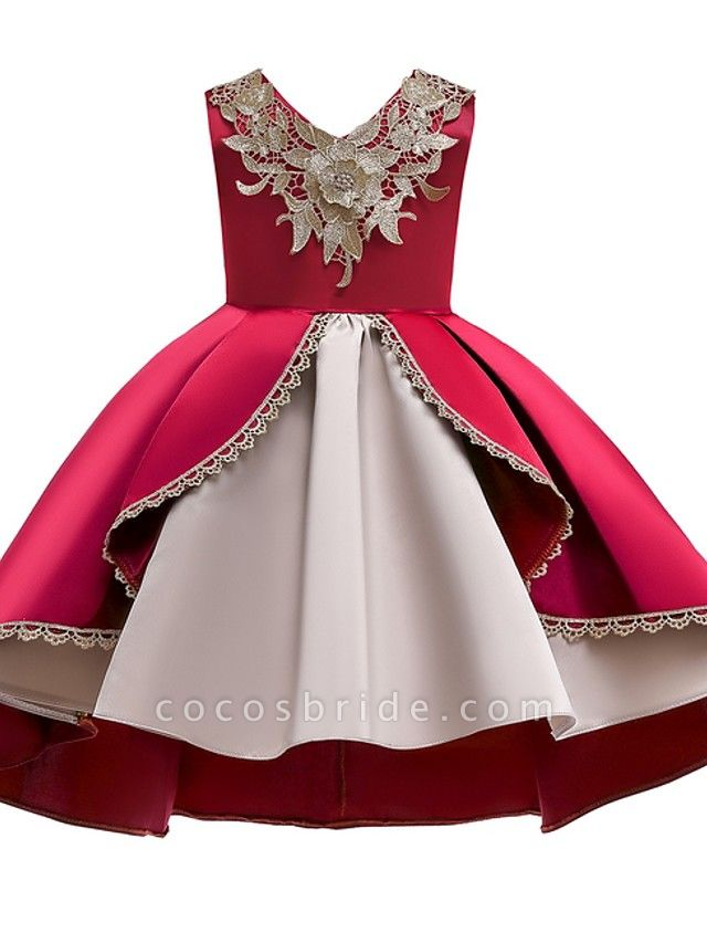 Ball Gown Ankle Length Pageant Flower Girl Dresses - Polyester Sleeveless V Neck With Appliques