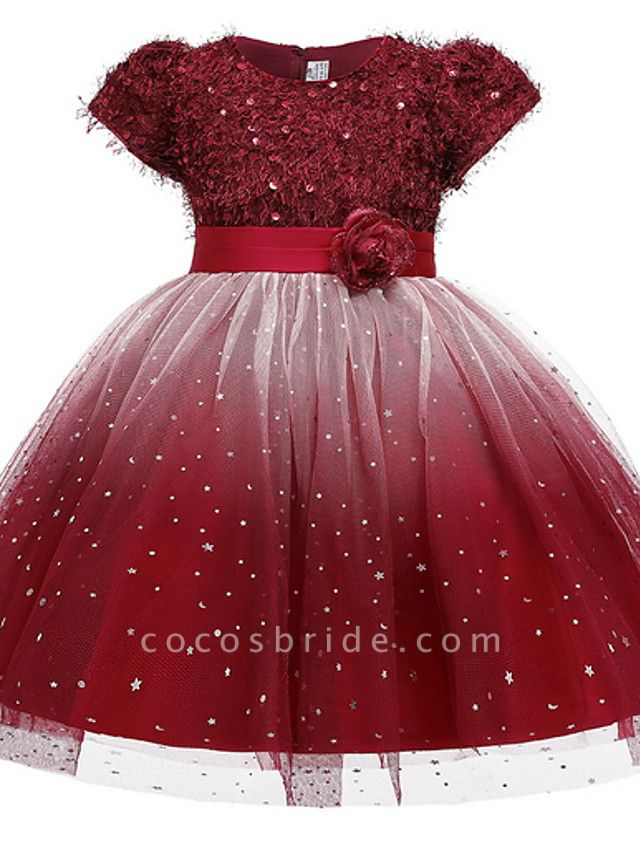Ball Gown Ankle Length Pageant Flower Girl Dresses - Polyester Short Sleeve Jewel Neck With Beading / Appliques