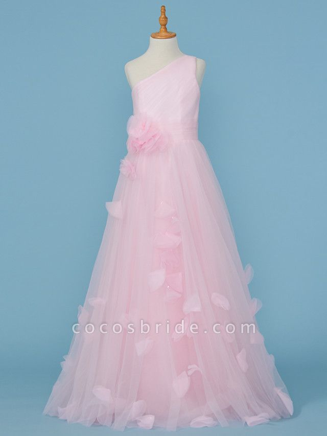 Princess / A-Line One Shoulder Floor Length Tulle Junior Bridesmaid Dress With Pleats / Appliques / Flower