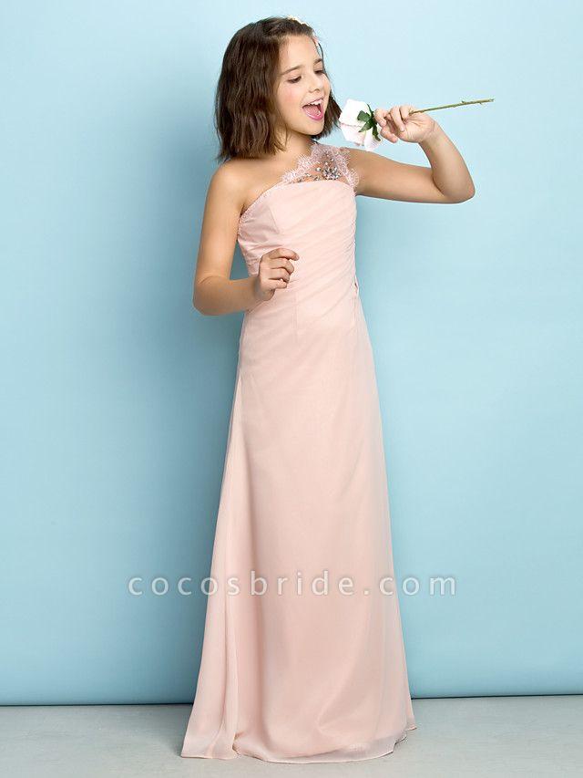Princess One Shoulder Floor Length Chiffon Junior Bridesmaid Dress With Crystals / Side Draping / Natural / Mini Me