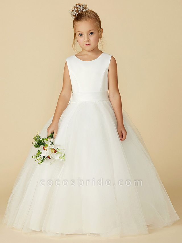 A-Line Floor Length Wedding / First Communion Flower Girl Dresses - Satin / Tulle Sleeveless Jewel Neck With Bow(S) / Buttons