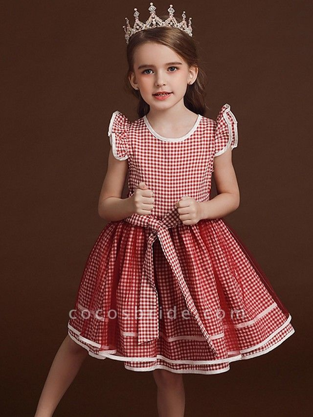 Ball Gown Knee Length Party / Birthday Flower Girl Dresses - Polyester / Cotton / Tulle Cap Sleeve Jewel Neck With Bow(S) / Ruffles