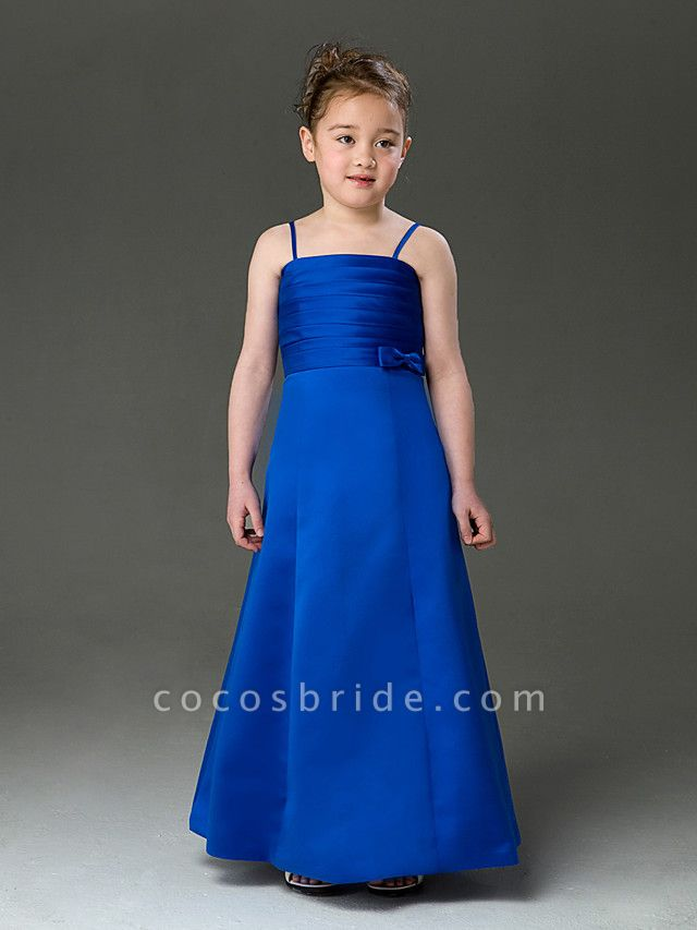 Princess / A-Line Floor Length Wedding Party Satin Sleeveless Spaghetti Strap With Bow(S) / Ruched / Spring / Summer / Fall / Winter