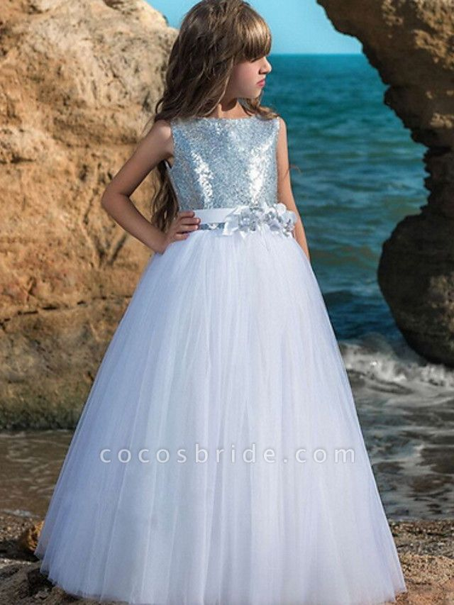 Ball Gown Floor Length Wedding / Party Flower Girl Dresses - Polyester Sleeveless Jewel Neck With Sash / Ribbon / Bow(S) / Paillette