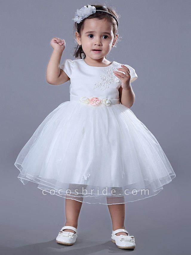 Ball Gown Medium Length Wedding / Birthday Flower Girl Dresses - Satin / Tulle Short Sleeve Jewel Neck With Beading / Embroidery / Flower