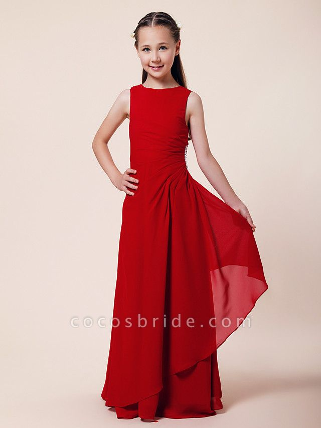 A-Line / Sheath / Column Bateau Neck Floor Length Chiffon Junior Bridesmaid Dress With Beading / Side Draping / Spring / Summer / Fall / Winter / Wedding Party