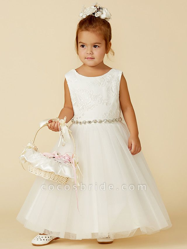 Princess Floor Length Wedding / First Communion Flower Girl Dresses - Lace / Tulle Sleeveless Jewel Neck With Lace / Sash / Ribbon / Bow(S)
