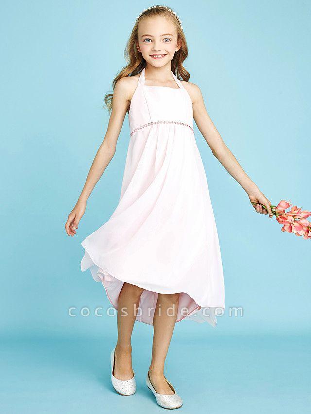 Sheath / Column Halter Neck Asymmetrical Chiffon Junior Bridesmaid Dress With Bow(S) / Beading / Natural