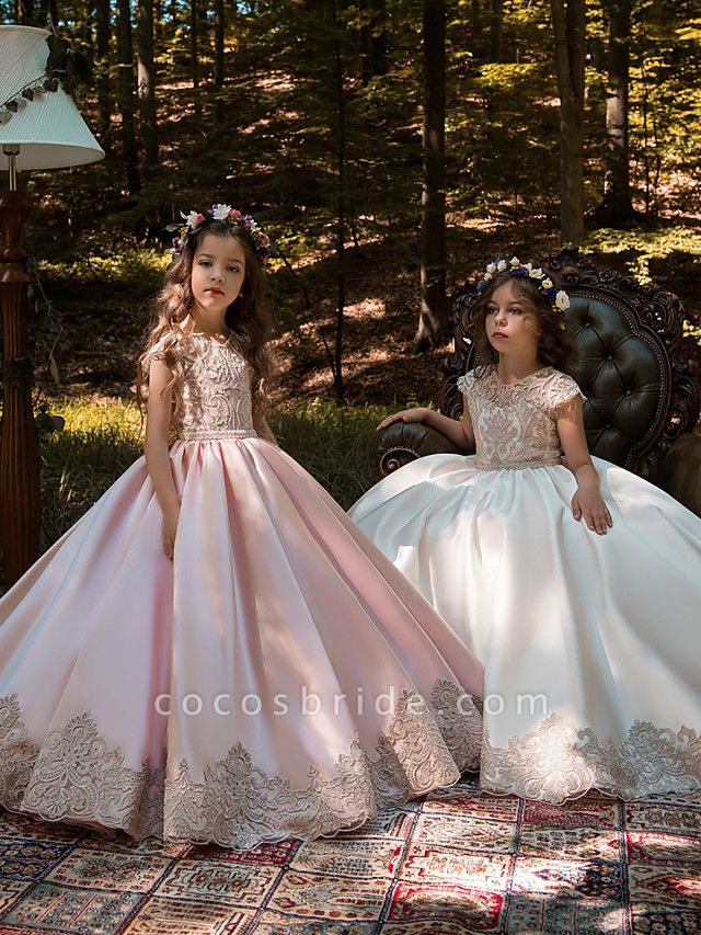 Ball Gown Sweep / Brush Train Wedding / Birthday / Pageant Flower Girl Dresses - Lace / Satin Chiffon Cap Sleeve Jewel Neck With Acrylic / Appliques