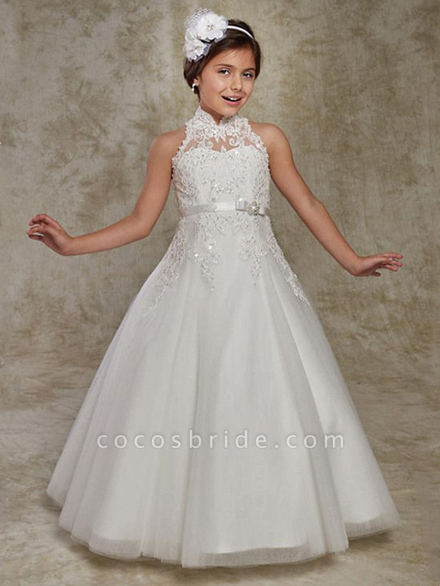 Princess / Ball Gown Floor Length Wedding / Party Flower Girl Dresses - Lace Sleeveless High Neck With Beading / Appliques