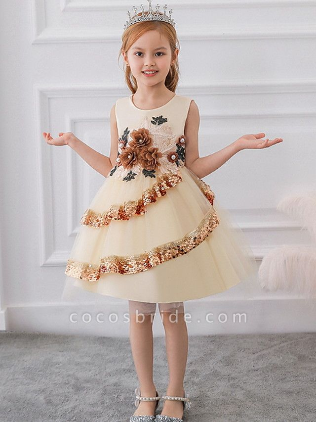 Ball Gown Knee Length Party / Pageant Flower Girl Dresses - Lace / Tulle Sleeveless Jewel Neck With Tier / Paillette
