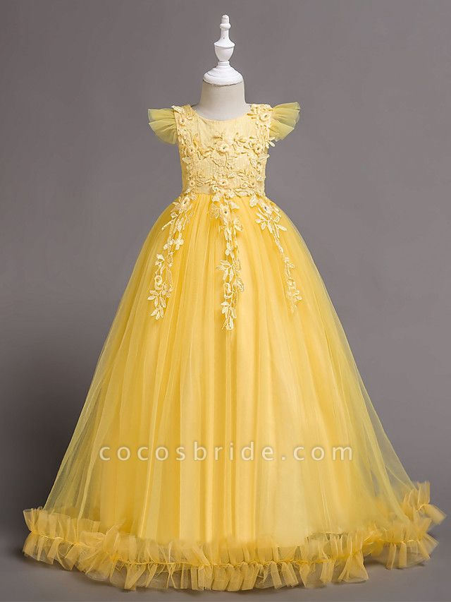 Princess Floor Length Wedding / Birthday / Pageant Flower Girl Dresses - Lace / Tulle / Polyester Short Sleeve Jewel Neck With Bow(S) / Embroidery / Appliques