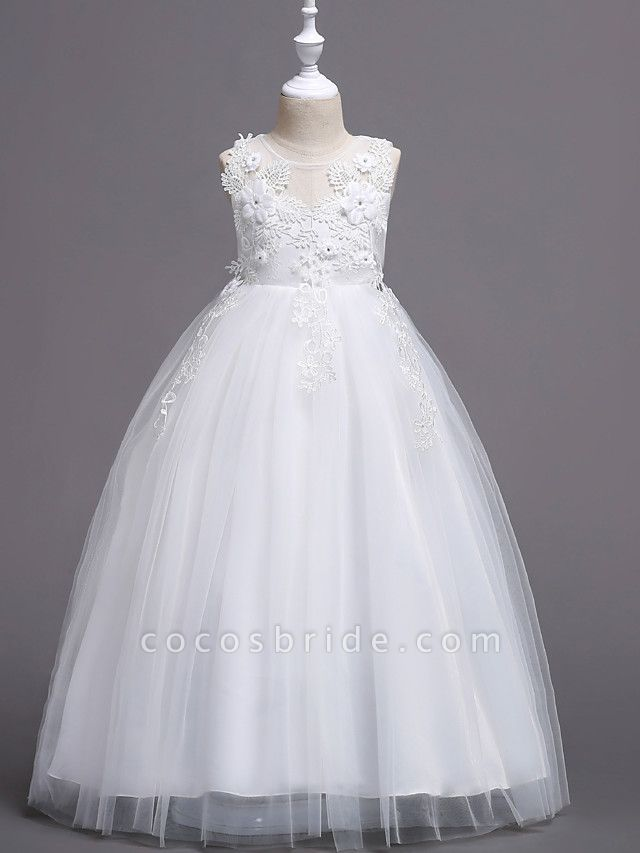 Princess Long Length Wedding / First Communion Flower Girl Dresses - Satin / Tulle Sleeveless Jewel Neck With Belt / Crystals / Appliques