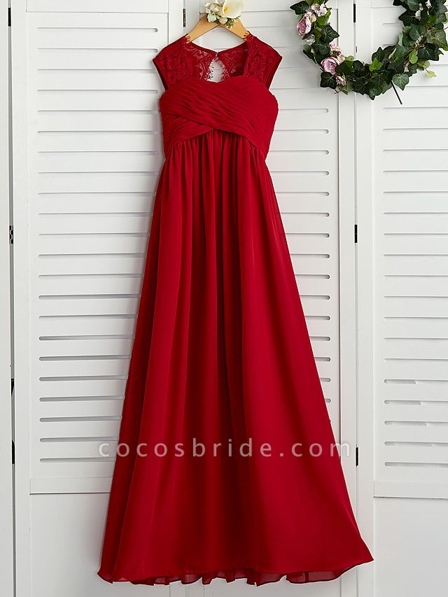 A-Line Square Neck Floor Length Chiffon Junior Bridesmaid Dress With Lace / Ruching