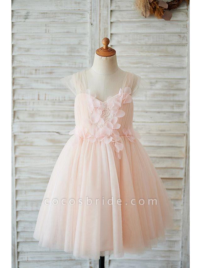 Ball Gown Knee Length Wedding / Birthday Flower Girl Dresses - Tulle Cap Sleeve Sweetheart Neckline With Petal / Pearls