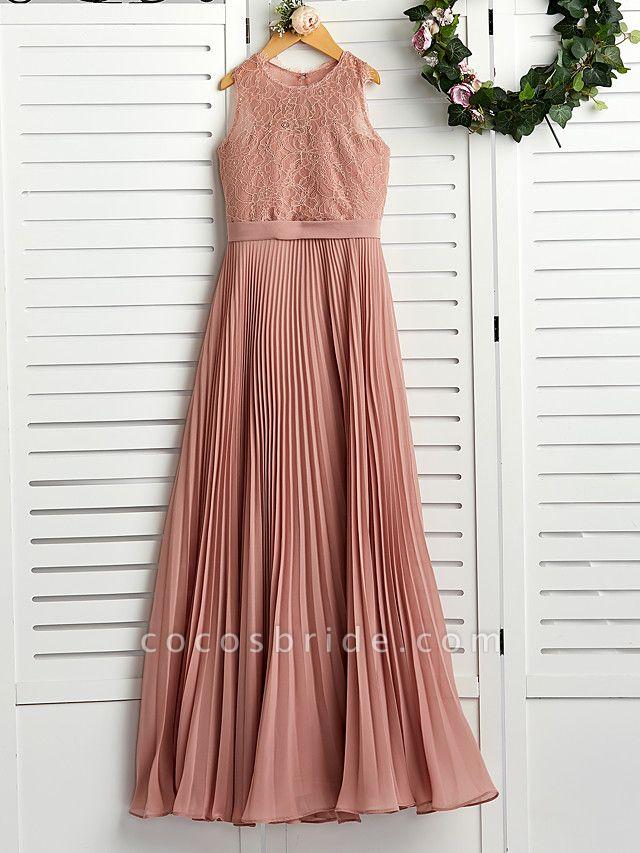 A-Line Crew Neck Maxi Chiffon / Lace Junior Bridesmaid Dress With Lace / Pleats