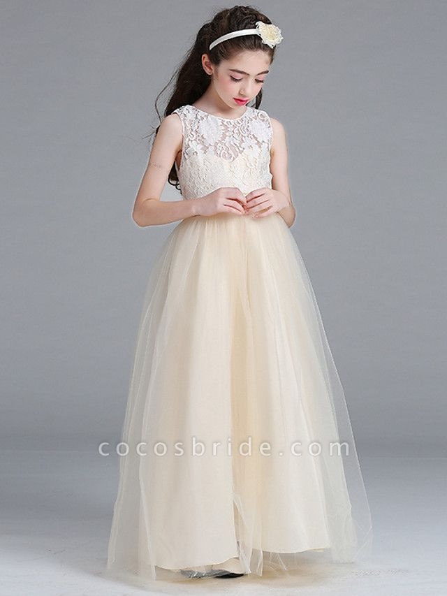 Princess / A-Line Round Floor Length Lace / Tulle Junior Bridesmaid Dress With Bow(S)