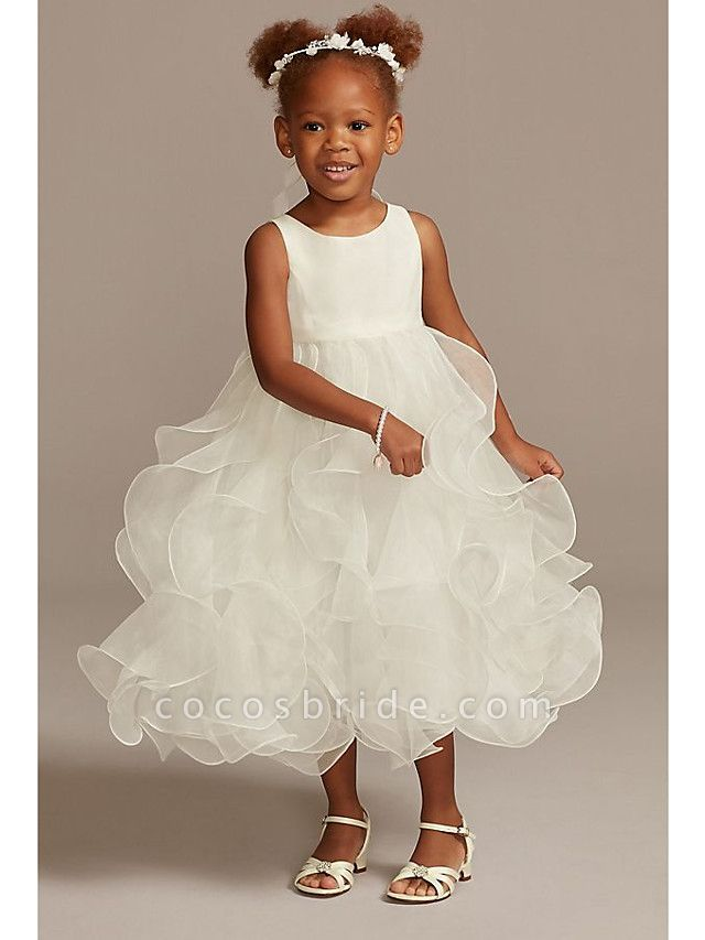 Ball Gown Ankle Length Wedding Flower Girl Dresses - Tulle Sleeveless Jewel Neck With Tier / Solid