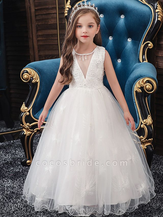 A-Line Medium Length Wedding / Party / First Communion Flower Girl Dresses - Tulle / Matte Satin / Poly&Cotton Blend Sleeveless Jewel Neck With Lace / Beading / Solid