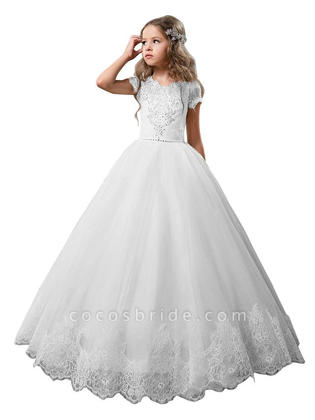Princess Floor Length Wedding / Birthday / First Communion Flower Girl Dresses - Cotton / Nylon With A Hint Of Stretch / Lace / Tulle Short Sleeve Jewel Neck With Lace / Crystals / Rhinestones