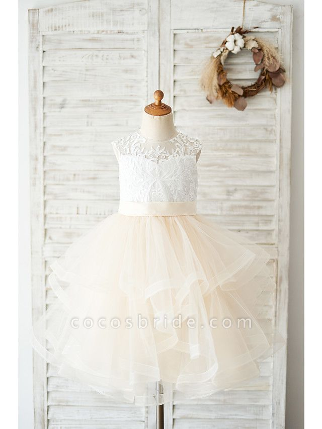 Ball Gown Knee Length Wedding / Birthday Flower Girl Dresses - Lace / Tulle Sleeveless Jewel Neck With Belt / Tiered