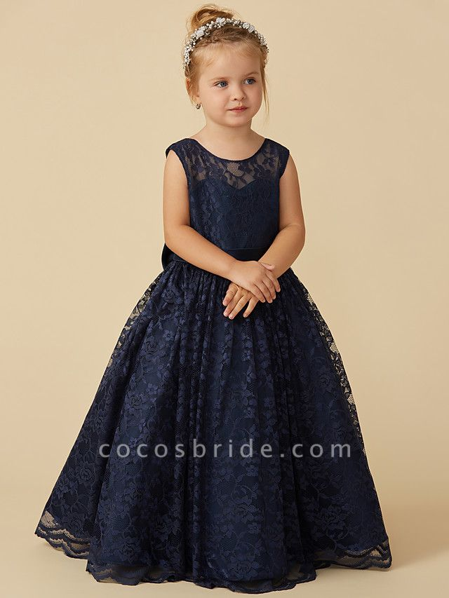 Ball Gown Floor Length Pageant Flower Girl Dresses - Lace Sleeveless Jewel Neck With Sash / Ribbon / Bow(S)