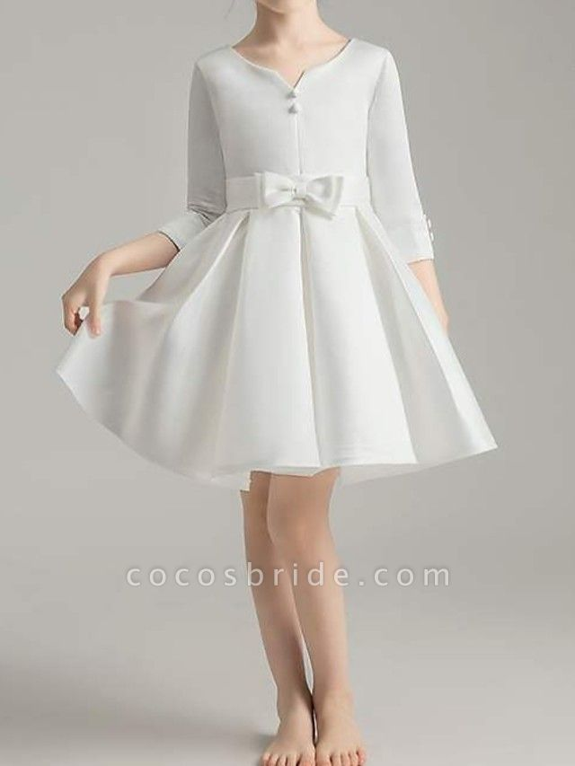 A-Line Knee Length First Communion Flower Girl Dresses - Polyester 3/4 Length Sleeve V Neck With Bow(S) / Pleats