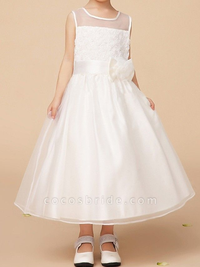 A-Line Ankle Length First Communion Flower Girl Dresses - Polyester Sleeveless Jewel Neck With Bow(S)