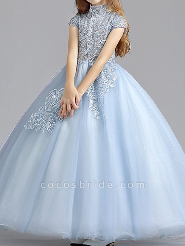 Ball Gown Floor Length Pageant Flower Girl Dresses - Polyester Short Sleeve High Neck With Ruching