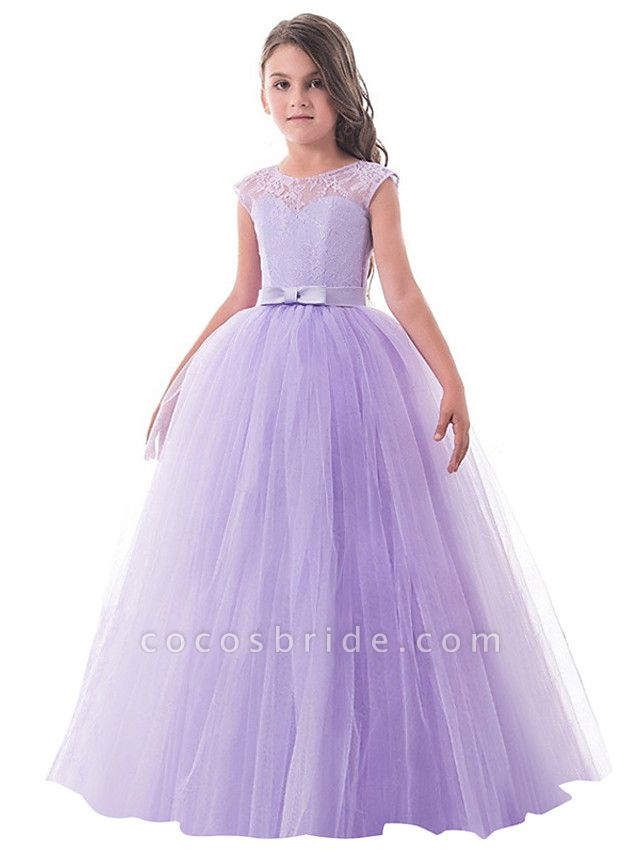 Princess Long Length Party / Birthday / Pageant Flower Girl Dresses - Lace / Tulle Sleeveless Jewel Neck With Lace / Bow(S)