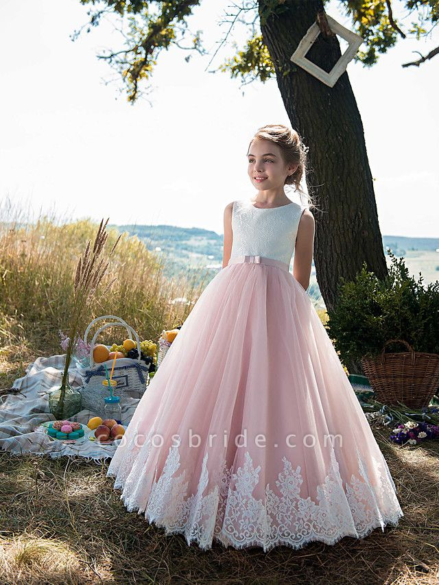 Princess Floor Length Party / Birthday / Pageant Flower Girl Dresses - Tulle / Cotton Sleeveless Jewel Neck With Lace / Belt / Appliques