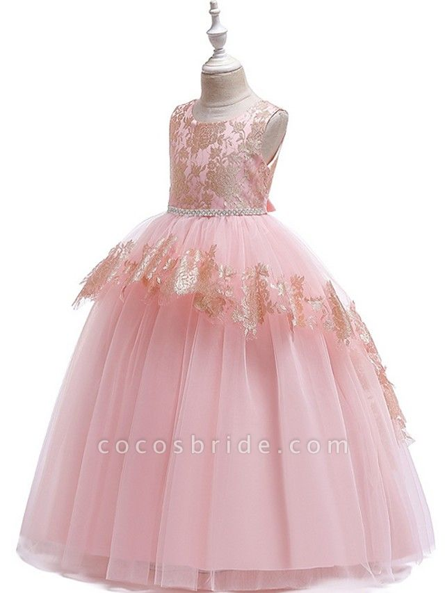 Ball Gown Floor Length Pageant Flower Girl Dresses - Tulle Sleeveless Jewel Neck With Lace / Bow(S)