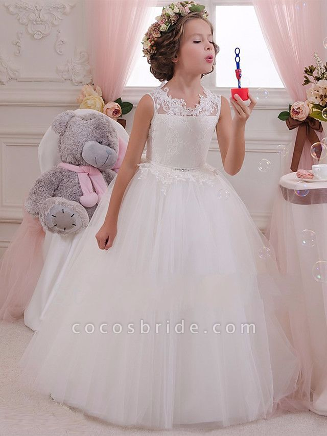Princess Maxi Wedding / Birthday / First Communion Flower Girl Dresses - Lace / Tulle / Cotton Sleeveless Scalloped Neckline With Lace / Appliques / Crystals / Rhinestones