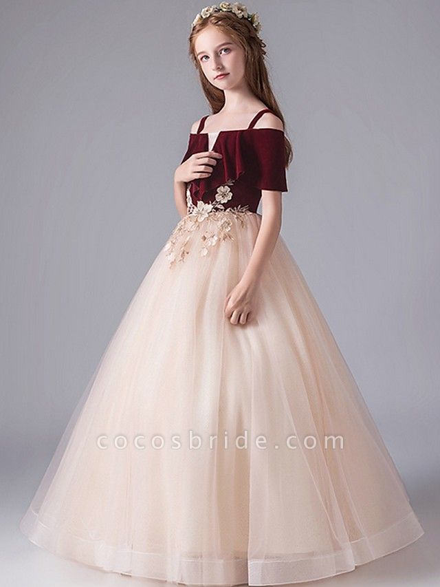 A-Line Floor Length Party / Pageant Flower Girl Dresses - Polyester Short Sleeve Spaghetti Strap With Appliques