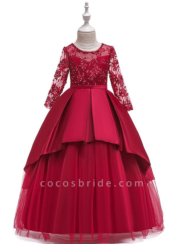 Ball Gown / A-Line Maxi Wedding / Formal Evening / Pageant Flower Girl Dresses - Cotton Blend / Lace 3/4 Length Sleeve Jewel Neck With Lace / Sash / Ribbon / Pleats