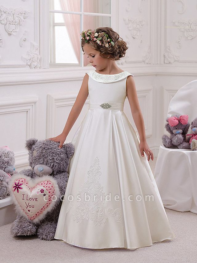 Princess Floor Length Christmas / Birthday / First Communion Flower Girl Dresses - Mikado / Cotton Sleeveless Boat Neck With Appliques / Crystals / Rhinestones