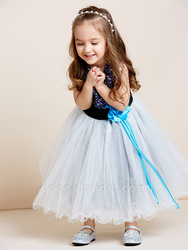 A-Line Tea Length Tulle / Sequined Sleeveless Jewel Neck With Sash / Ribbon / Sequin / Draping / Mini Me