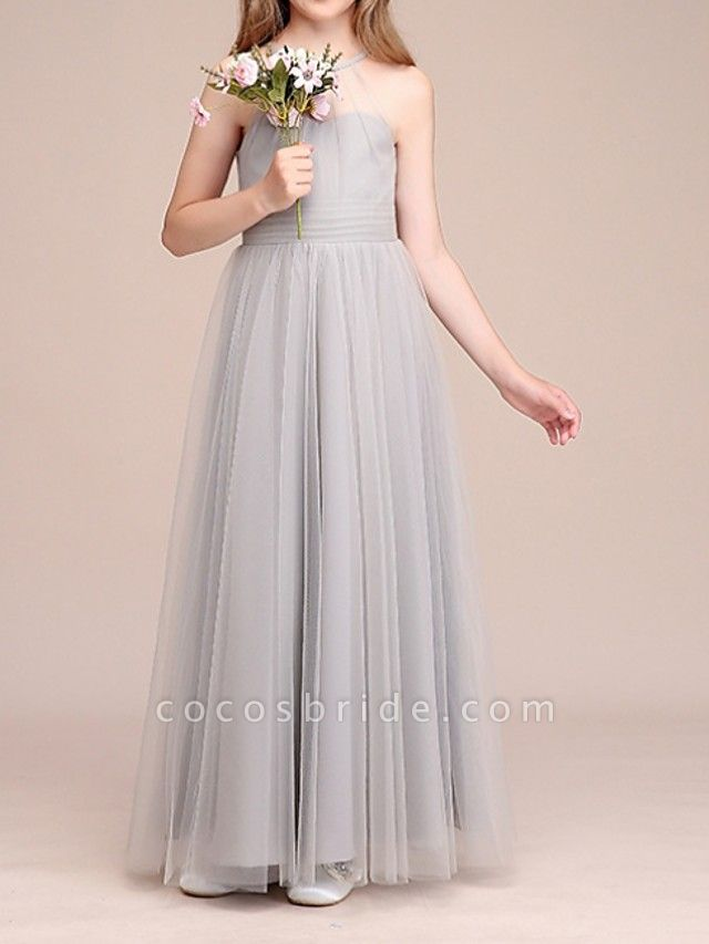 A-Line Floor Length Pageant Flower Girl Dresses - Polyester Sleeveless Halter Neck With Bow(S) / Pleats