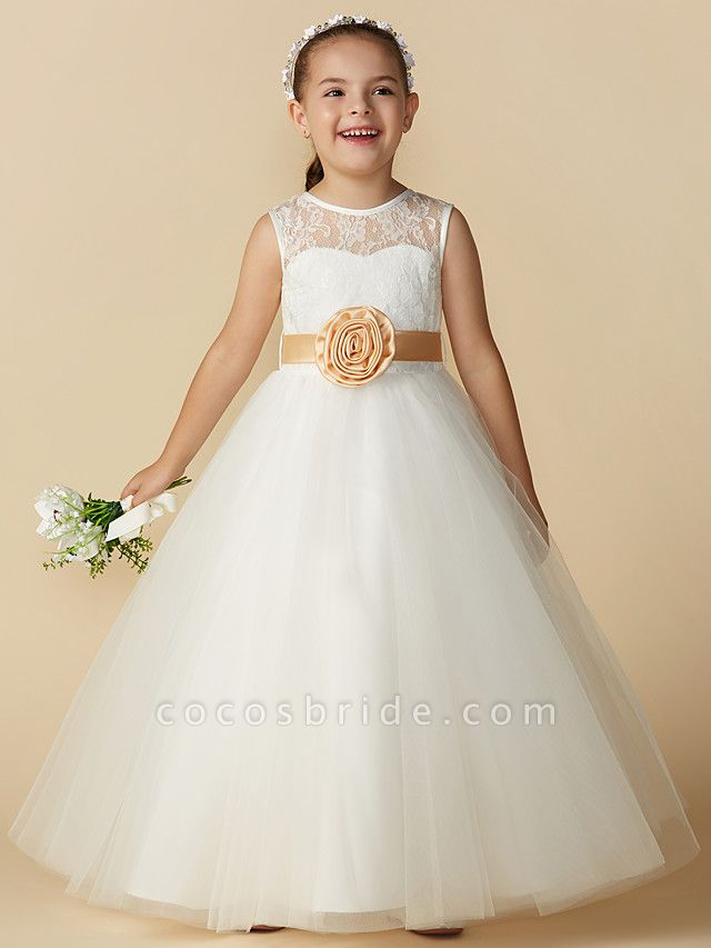 Princess Ankle Length Wedding / First Communion Flower Girl Dresses - Lace / Tulle Sleeveless Jewel Neck With Sash / Ribbon / Bow(S) / Flower