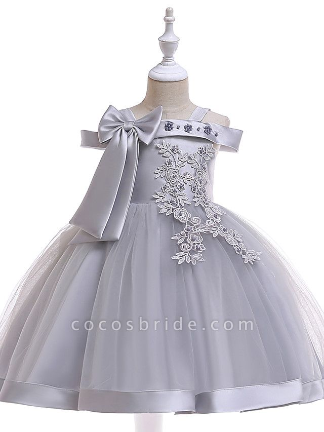 A-Line Knee Length Wedding / Birthday / Pageant Flower Girl Dresses - Tulle Sleeveless Spaghetti Strap With Faux Pearl / Petal / Lace