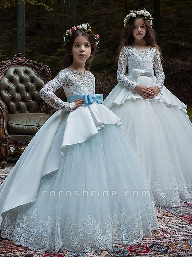 Ball Gown Court Train Party / Birthday Flower Girl Dresses - Poly Long Sleeve Jewel Neck With Lace / Bow(S) / Appliques