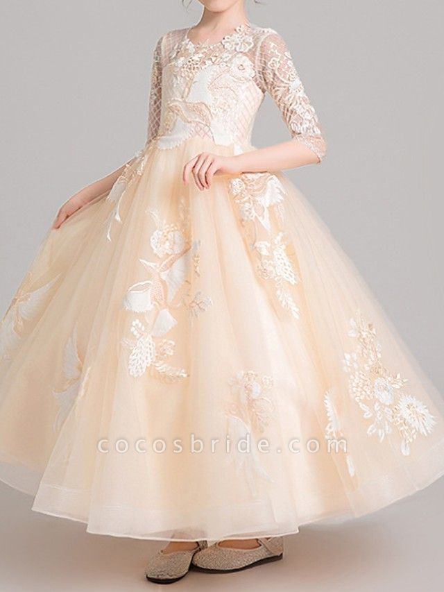 Ball Gown Ankle Length Pageant Flower Girl Dresses - Polyester Half Sleeve Jewel Neck With Embroidery / Appliques