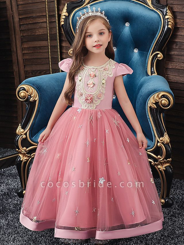 A-Line Ankle Length Wedding / Party / Pageant Flower Girl Dresses - Tulle / Matte Satin / Poly&Cotton Blend Short Sleeve Jewel Neck With Pattern / Print / Solid